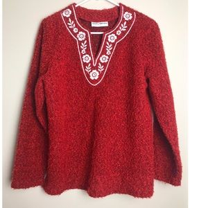 Cathy Daniels Red Embroidered Sweater-No size tag